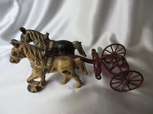 Antique Cast Iron Horses with Cart Toy
