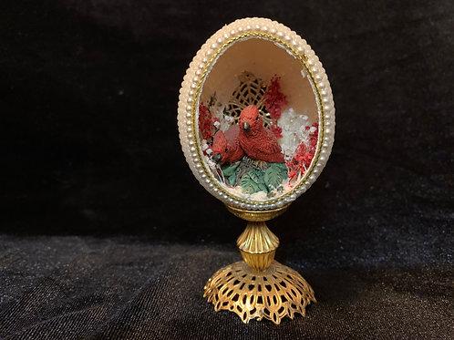 Beaded Cardinal Egg Diorama