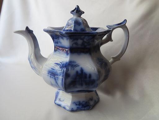 Antique Flow Blue Teapot