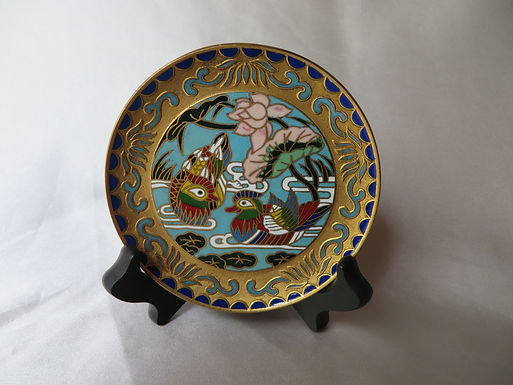 Chinese Cloisonne Enameled Brass Small Plate
