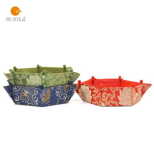 Hexagonal Fabric Basket/Tray Chinese Style