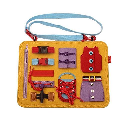 Busy Board Montessori Practical Life Yellow Bus