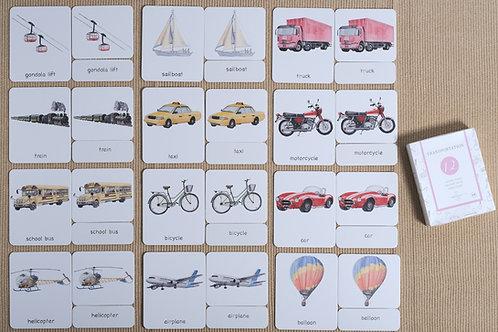 Transportation 3-Part Cards English