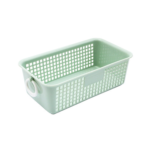Plastic basket with ring handles