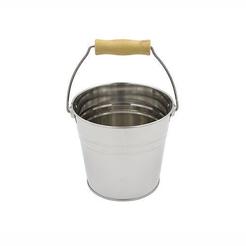 Stainless Steel Pail with Wooden Handle