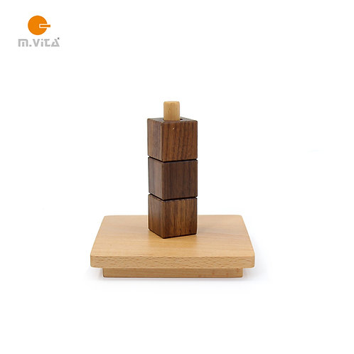 Cubes on Vertical Dowel Montessori Eye-hand Coordination Material Toddler