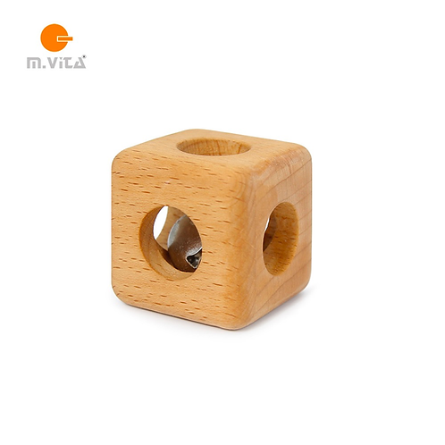 Cube with Bell Montessori Natural Wood Rattle