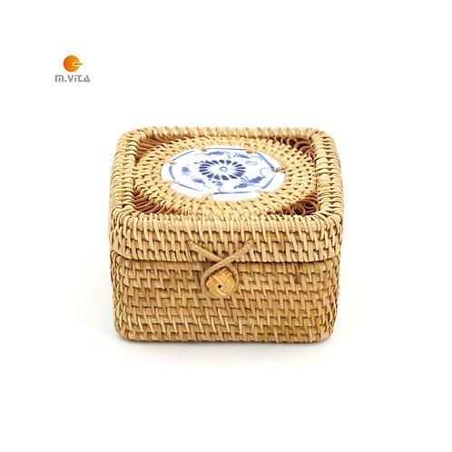 Rattan Square Box with Porcelain Decoration