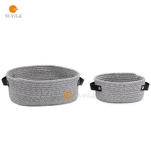 Cotton Rope Basket with Leather Handles Size Options