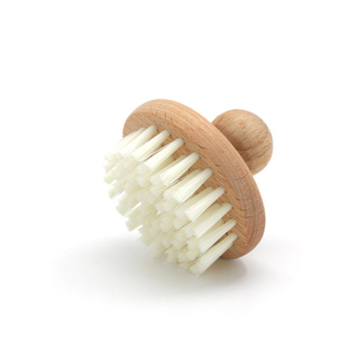 Round Cleaning Brush Wood Knob PP Bristle Cream Color