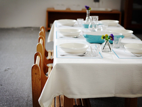 Dining table setting in a Montessori classroom