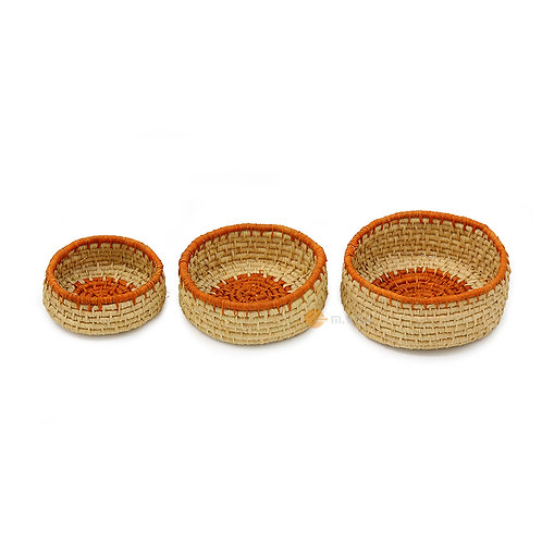 Woven Raffia Baskets Set of 3 with Color options