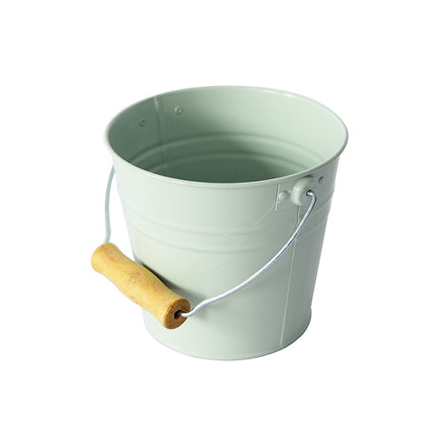 Pail with Wooden Handle Pale Green