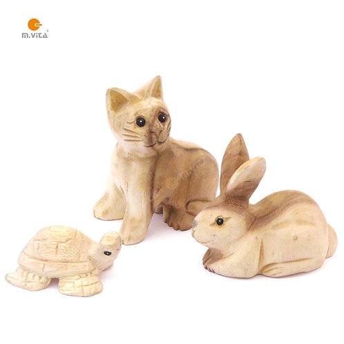 Hand Carved Wooden Animals for Polishing Activity