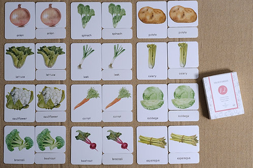 Vegetables 3-Part Cards English
