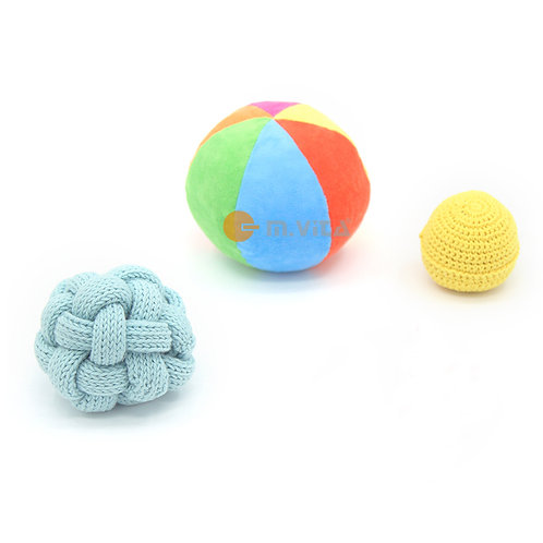 Balls of various sizes and textures