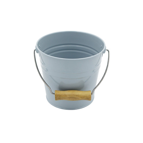 Pail with Wooden Handle Blue Color