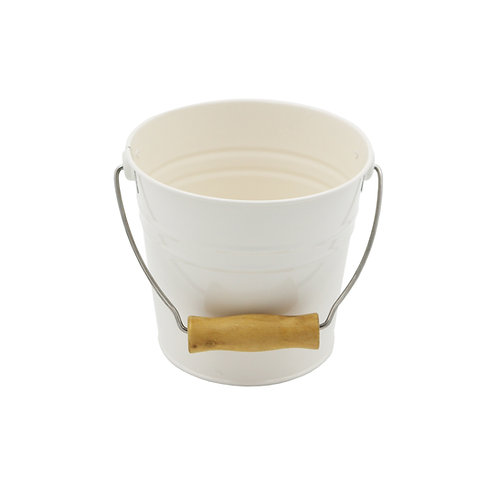 Pail with Wooden Handle Cream Color