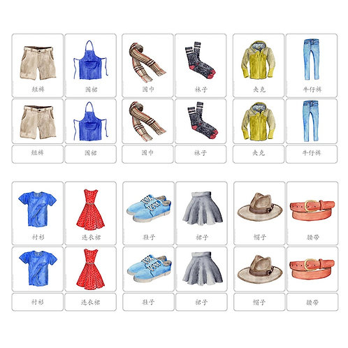 3 PART CARDS: CLOTHES Chinese Simplified