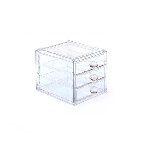 Acrylic 3-drawer organizer clear container