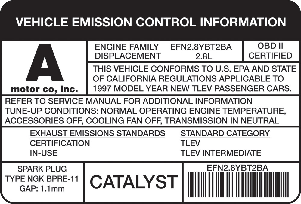 50 State Vehicle Emmission Control Informtion Label