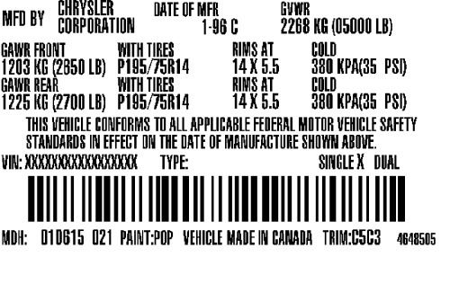 US Federal Certification Label Sample