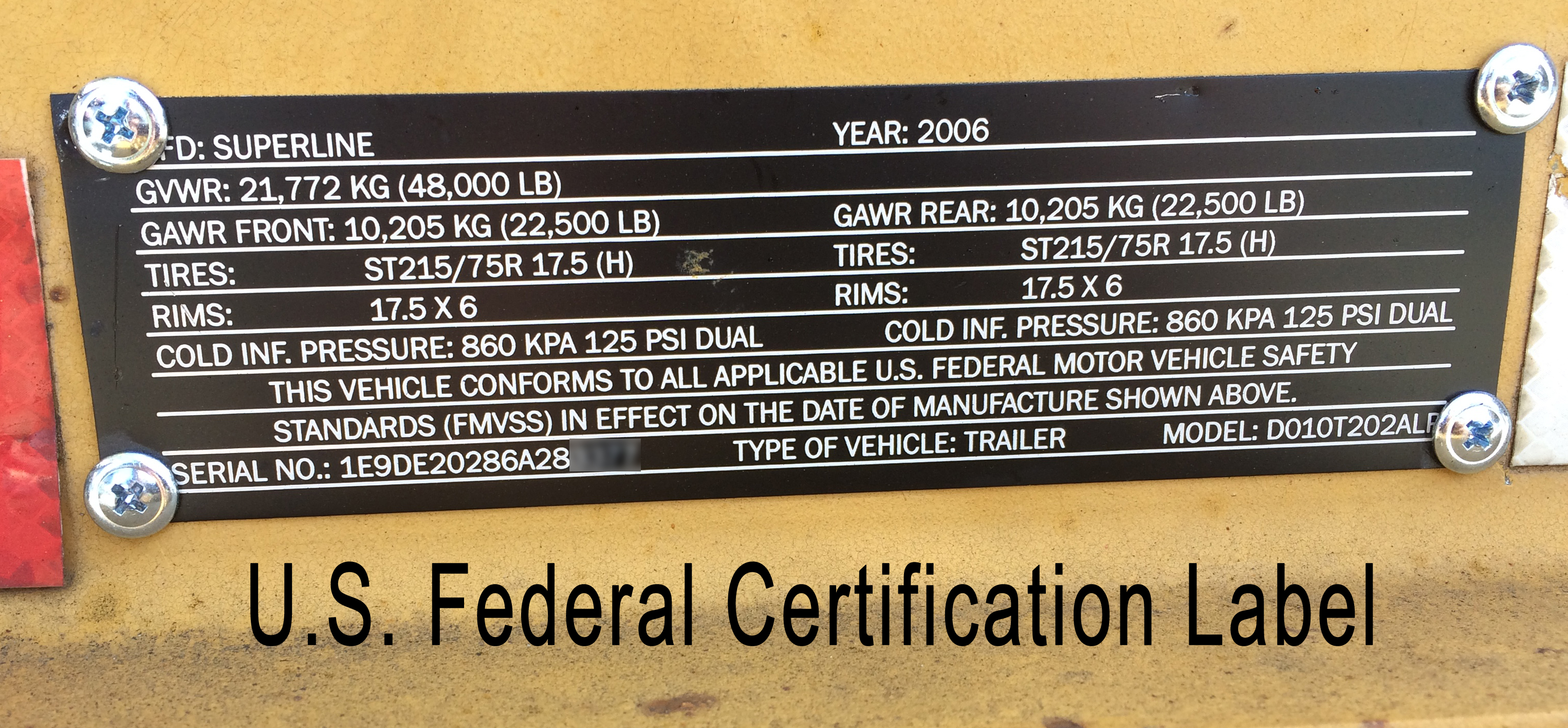 Trailer U.S. Federal Certification Label
