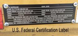 Trailer U.S. Federal Certification Label