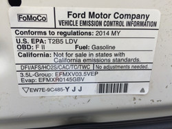 Vehicle Emmission Control Information - Non-Compliant with California Standards - 49 States Label