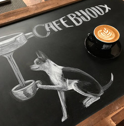 Café Bijoux Chalkboard Illustration
