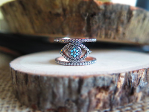 Thick Evil Eye ring - Pink
