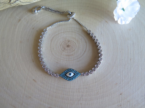Adjustable evil eye bracelet