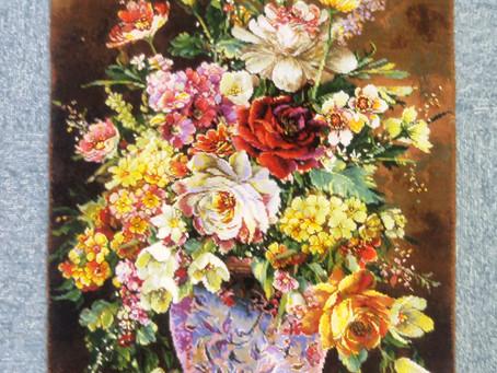 絵画絨毯(花と花瓶)