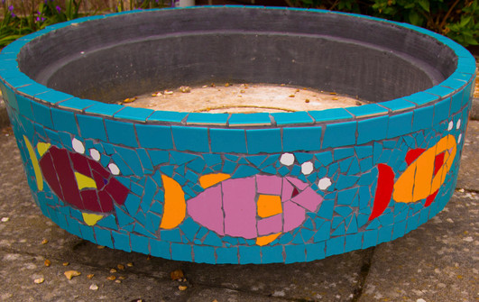 Memorial planter decorated donated by St Mary's school children