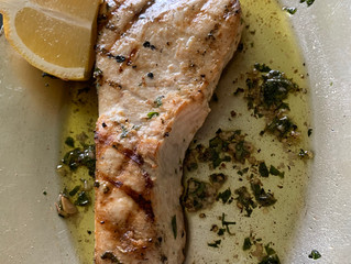 Grilled Swordfish with Thyme, Oregano, Marjoram, Garlic, and Olive Oil.