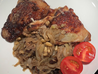 Chicken Brined in Lapsang Souchong with Sumac Onion Confit