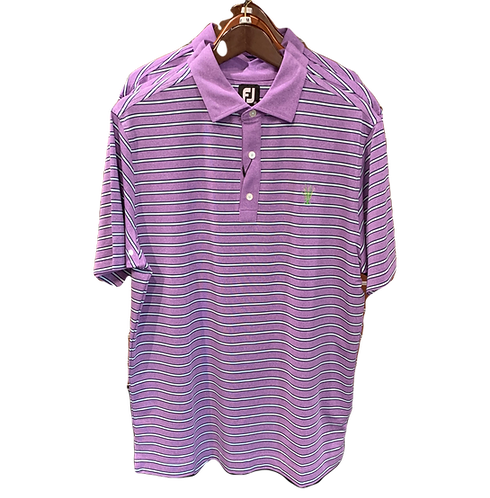 Men's FJ Heather Lisle with Stripe Self Collar Polo - Heather Soft Purple