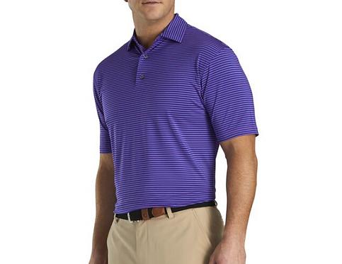 Men's FJ Lisle Feeder Self Collar Polo - Soft Purple / Deep Blue