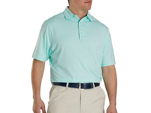 Men's FJ Lisle Solid with Contrast Trim Polo - Mint-Deep Blue