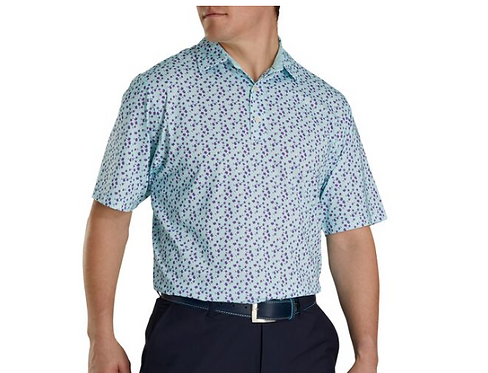 Men's FJ Lisle Flower Print Self Collar Polo - Mint