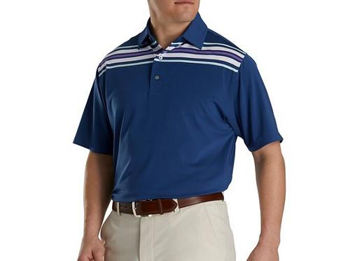 Men's FJ Lisle Chest Stripe Self Collar Polo - Deep Blue