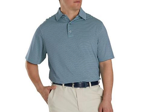 Men's FJ Lisle Feeder Self Collar Polo, Deep Blue - Mint