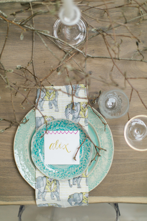 autumn wedding place setting and calligraphy