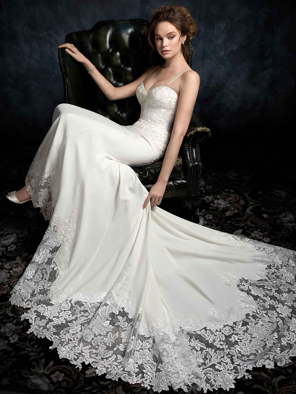 summer wedding dress in crepe