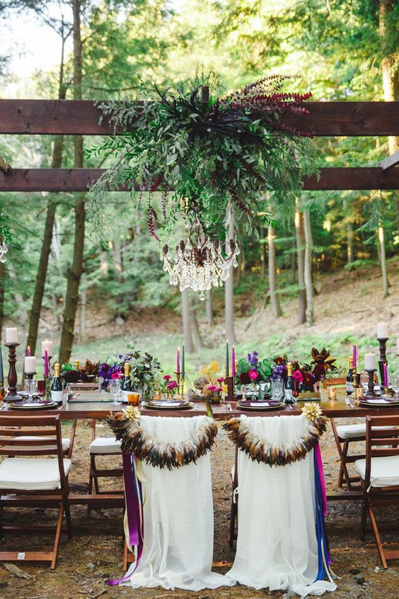 autumn wedding outside reception