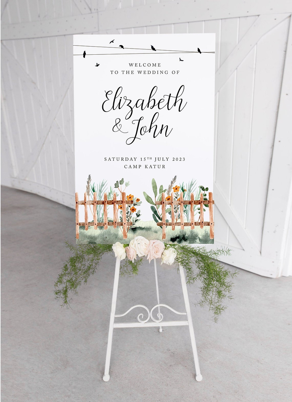 festival style wedding sign