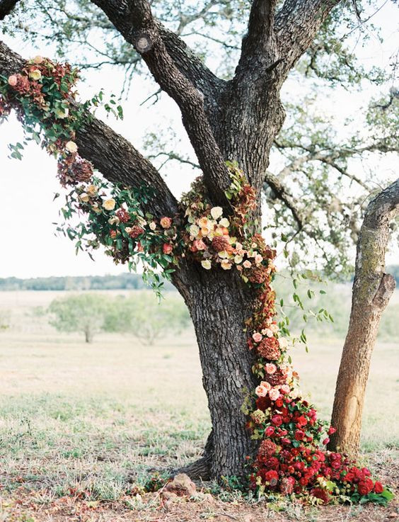 autumn wedding flowers in tree