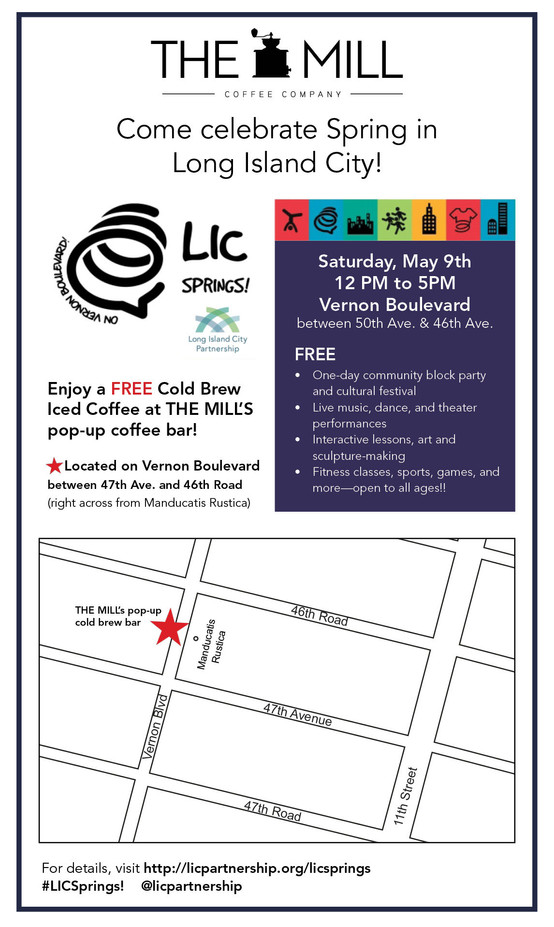 Visit THE MILL's LIC Springs Pop-Up! Sat., May 9th Only