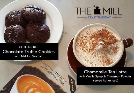 Try It Tuesday: Chamomile Tea Latte + Gluten-Free Chocolate Truffle Cookies