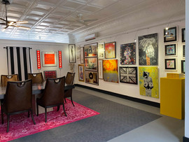 Mezzanine Gallery / Conference Room with British artist Tim Fishlock light boxes illuminated